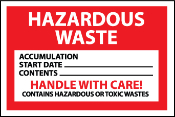 Hazardous Waste Container Labels